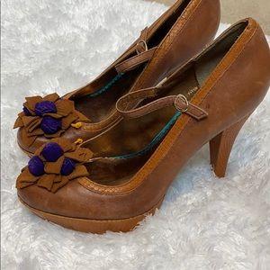 Poetic license leather floral pumps heels